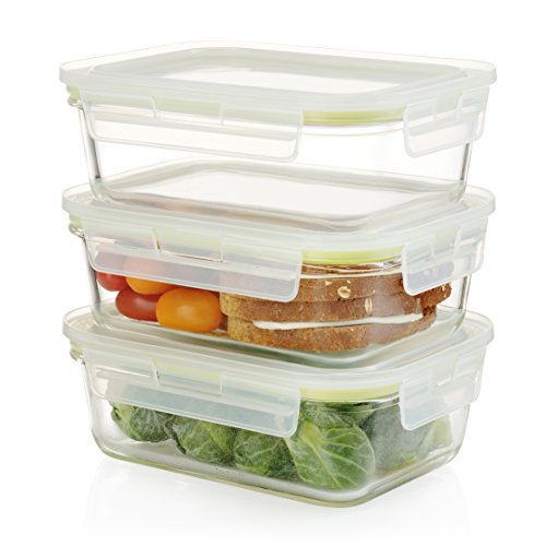 BPA FREE   3 Piece Set 35 Oz   Komax Oven Safe Rectangular Glass Food Storage  Containers U2013 Microwave U0026 Freezer Safe   Airtight Lunchbox With Snap Locking  ...