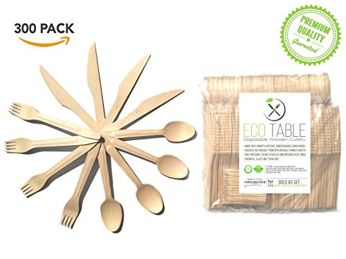 Disposable Wooden Cutlery 300pc Set Premium Elegant Utensils